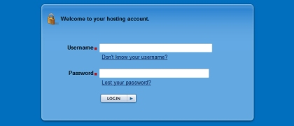 Web hosting control panel login page