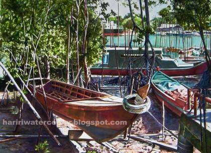 Title: Pengkalan Nelayan Gelang Patah | Size: 21' x 29' | Price: RM 4000.00
