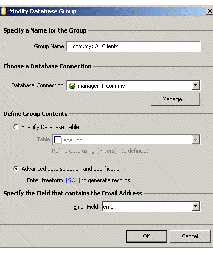 Modify Database Group
